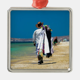 Seller on the beach Silver-Colored square decoration