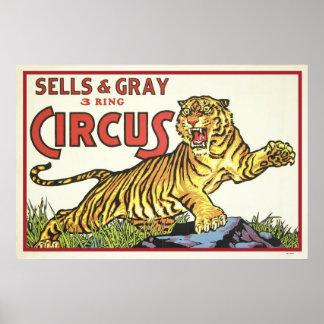 Sells & Gray 3 Ring Circus Poster