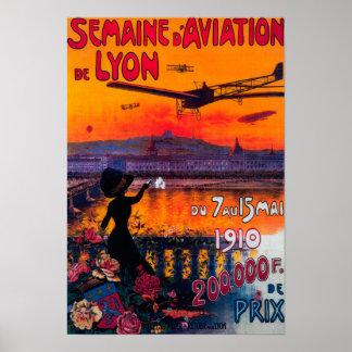 Semaine d' Aviation De Lyon Vintage Poster