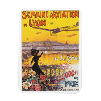 Semaine d'Aviation de Lyon Vintage Travel Poster Rectangular Photo Magnet