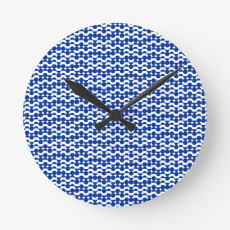 semi circle blue mosaic round clock