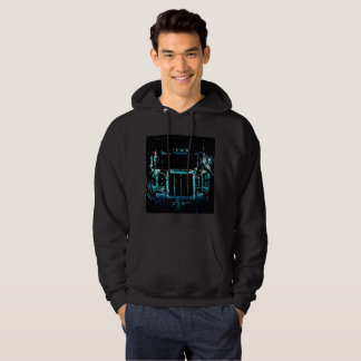 Semi on black background hoodie