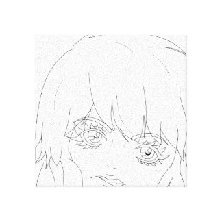 "Semi-Realistic Anime girl lineart 12"" x 12"" Canvas Canvas Print"