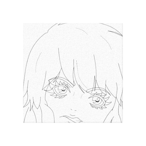 "Semi-Realistic Anime girl lineart 12"" x 12"" Canvas Canvas Print"
