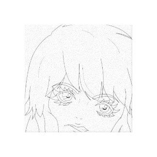 "Semi-Realistic Anime girl lineart 12"" x 12"" Canvas Canvas Prints"