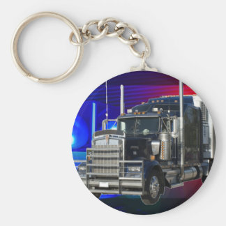 SEMI TRACTOR TRAILER WITH POLICE LIGHTS BACKGROUND KEY RING