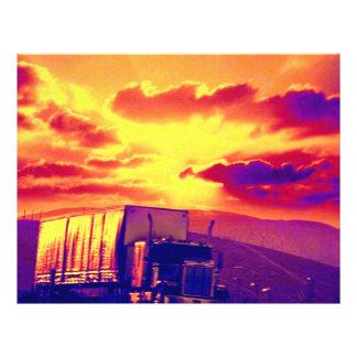 Semi-truck and sunset, California 21.5 Cm X 28 Cm Flyer