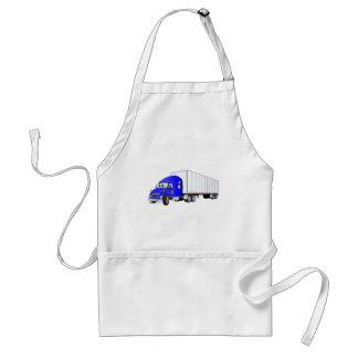 Semi Truck Blue White Trailer Cartoon Standard Apron