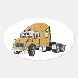 Semi Truck Cab Gold Oval Sticker