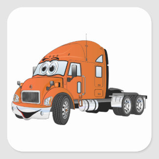 Semi Truck Cab Orange Square Sticker
