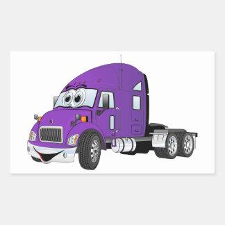 Semi Truck Cab Purple Rectangular Sticker