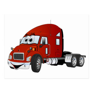 Semi Truck Cab Red Postcard