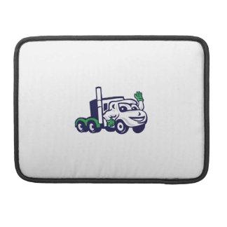 Semi Truck Rig Waving Cartoon Sleeve For MacBooks