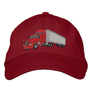 Semi with trailer embroidered hats