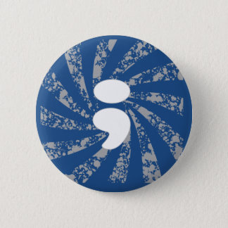 Semicolon on grunge rays 6 cm round badge