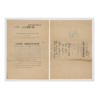 Senate Joint Res 40 16th Amendment Income Tax Poster