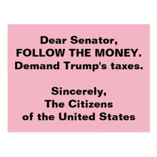 Senator Follow the Trump Money Russia Resistance Postcard