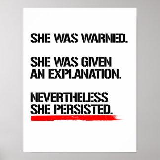 Senator Warren - Nevertheless She Persisted -- .pn Poster