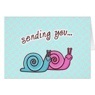 SENDING LOVE SPEEDO & SPAGO THE SNAILS CARD