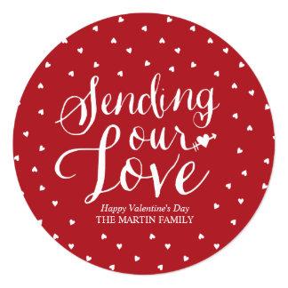 Sending Our Love Round Valentine's Day Card 13 Cm X 13 Cm Square Invitation Card