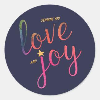 Sending you love and joy round sticker
