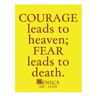 Seneca on Courage and Fear - Roman quote postcard