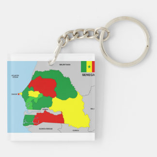 senegal country map flag key ring