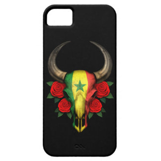 Senegal Flag Bull Skull with Red Roses iPhone 5 Covers