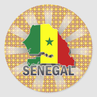 Senegal Flag Map 2.0 Classic Round Sticker