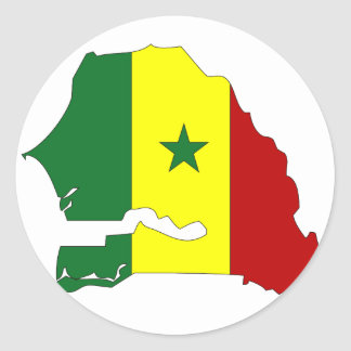 Senegal flag map classic round sticker