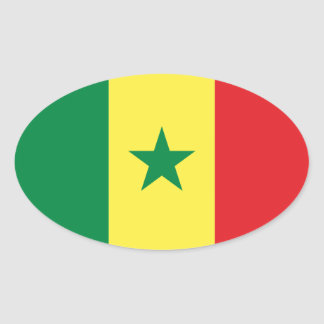 Senegal Flag Oval Sticker