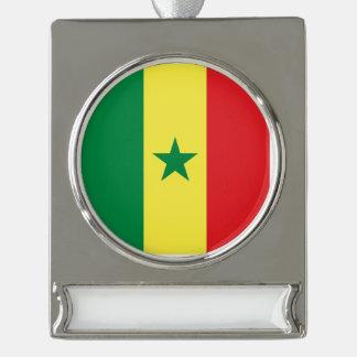 Senegal Flag Silver Plated Banner Ornament