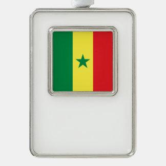 Senegal Flag Silver Plated Framed Ornament