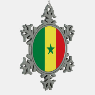 Senegal Flag Snowflake Pewter Christmas Ornament