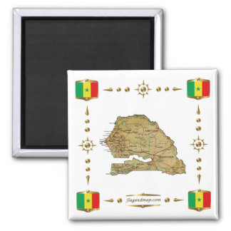 Senegal Map + Flags Magnet
