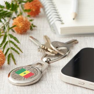 Senegalese flag on tree bark key ring