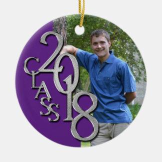 Senior 2018 Purple and Silver Graduate Photo Ceramic Ornament