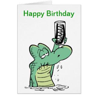 Senior Citizen Crocodile Birthday Cartoon Card