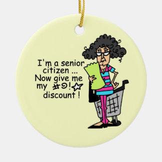 Senior Citizen Discount Round Ceramic Decoration
