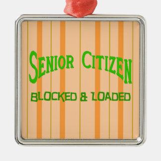 Senior Citizen Silver-Colored Square Decoration