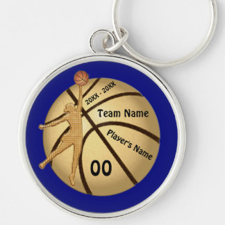 Senior Gift Ideas for Basketball Your TEXT, COLORS Silver-Colored Round Key Ring