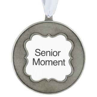 Senior Moment ai Scalloped Pewter Ornament