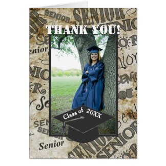 Senior Photo Graduation Cap Graduation Thank you Card