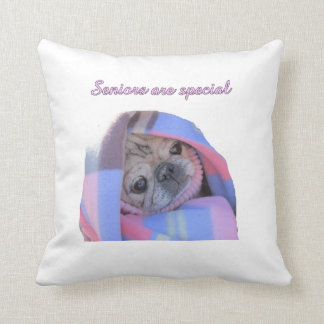senior pug picture cushion
