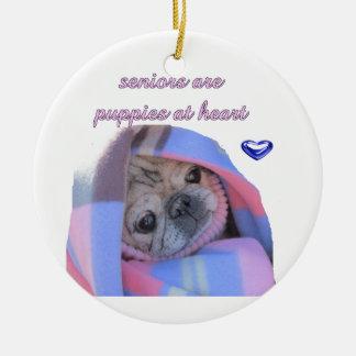 senior pug round ceramic decoration
