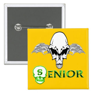 Senior - Skull Wings Pinback Button