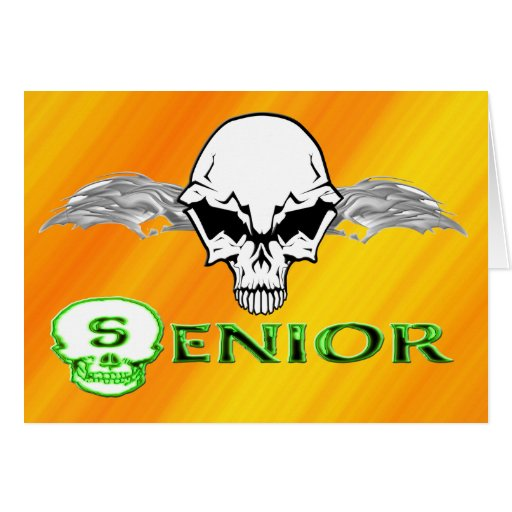 Senior - Skull Wings Greeting Cards