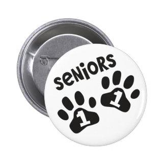 Seniors '11 Paw Prints 6 Cm Round Badge