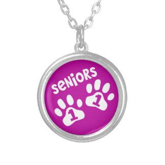 Seniors '11 Paw Prints - Hot Pink Round Pendant Necklace