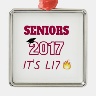 Seniors Class of 2017 - It's Lit Silver-Colored Square Decoration